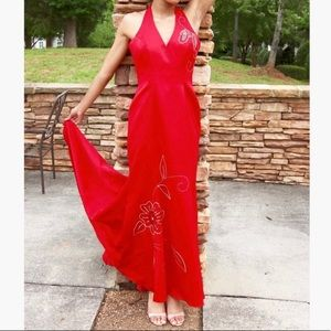 Morgan and Co Formal Red Halter Dress